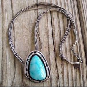 Large Native American sterling Turquoise pendant